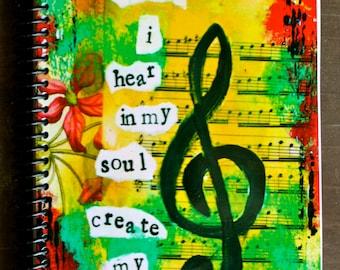 "Soundtrack of my Soul 5.5"" x 8.5"" Lined Paper Notebook, Lined Journal, Treble Clef, Wholesale Notebooks, Wholesale Stationery"