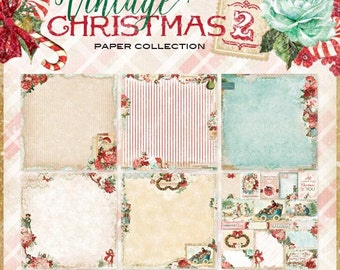 Blue Fern Vintage Christmas Collection 2  12 x 12 Scrapbook Paper Pad  Full Collection Pack 12 Sheets
