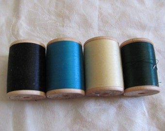 Thread Lot 4 Belding Corticelli Mid Century Cotton Mercerized Thread Wooden Spools