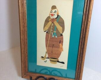 1960s Joan Bryant Danish Modern Clown Picture Matted, Under Glass, Wood Frame Mid Century Modern