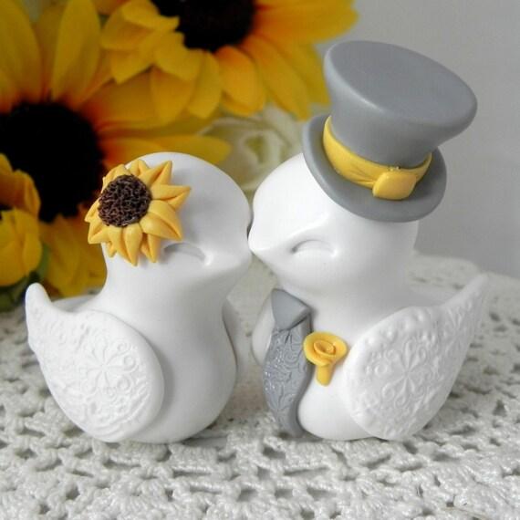 Love Birds Cake Topper, Wedding, Anniversary Sunflower, White,Yellow, and Grey, Bride and Groom Keepsake, Fully Custom