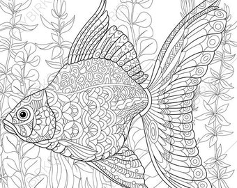 Ocean World. Goldfish. Gold Fish. 2 Coloring Pages. Animal coloring book pages for Adults. Instant Download Print