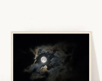 Moon Photography, Printable Art, Moon Print, Black and White Photo, Moon And clouds,  Instant Download, Modern Wall Art