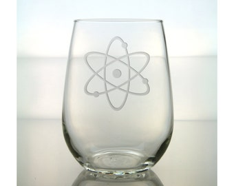 Atomic Symbol Wine Glass  / Science Wine Glass /  Free Personalization / 17 oz Stemless Wine Glass /Personalized Glass / Personalized Gift