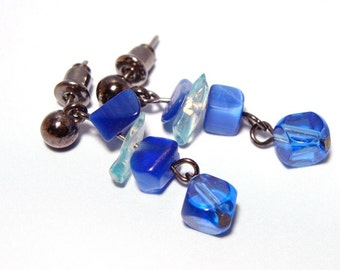 Brilliant Blue Glass Earrings by Natty Creations