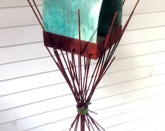 Sculptural Steel & Copper Bird Feeder No. 357 - Freestanding unique modern bird feeder