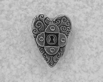Green Girl Studios Pewter Heart Key Button