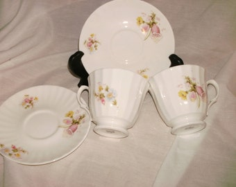 Pair of Vintage Bone China Teacups and Saucers Made in England Floral Motif