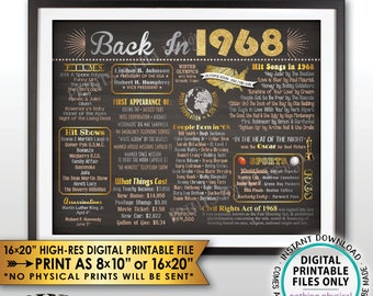 """Back in 1968 Flashback Poster Flashback to 1968 History Birthday Anniversary Reunion, Chalkboard Style PRINTABLE Landscape 16x20"""" Sign <ID>"""