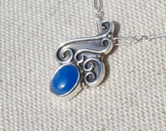 Water Elemental Necklace Argentium Silver with Blue Agate