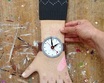 OOAK -- hand painted wooden clock wearing black sweater