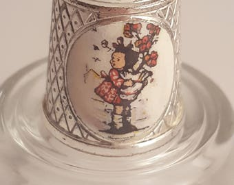 1985 Hummel Girl with Flowers Collectors Thimble