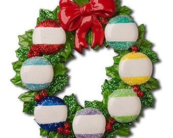 Personalized Family of 7 Wreath Ornament