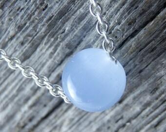 Delicate Blue Opaline Quartz Necklace. Silver Necklace. Dainty Silver Plated Chain. Simple Necklace. Minimalist. Stone Necklace. Cute