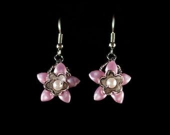 Pink Flower Dangles