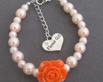 Flower Girl Bracelet, Flower Girl Charm, Orange Rose Flower Kids Bracelet, Rose Flower Children Jewelry, Ask Flower Girl, Free Shipping USA