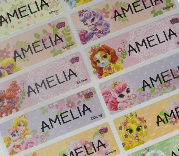Disney princess pet personalized sticker name label waterproof name tag sticker vinyl labels dishwasher safe labels name labels large