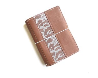 Travelers Notebook Cover- Cork Brown Leather with White floral lace accent - TN -Genuine Leather - 4 Sizes