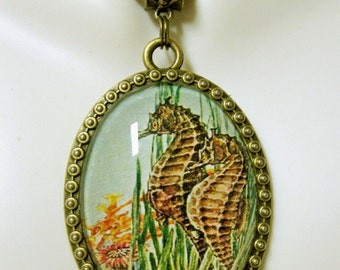 Two seahorse pendant with chain - SAP09-007