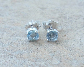 Aquamarine Earrings - 4mm genuine Aquamarine stud earrings in Sterling Silver or Gold