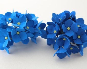 Hair bobby pin polymer clay flowers. Set of 5. blue  hydrangea - 5 with 3 flowers