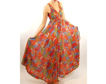 1960s maxi dress floral gown tube top shirred bodice full sheer dress with shawl by Denise L Size M