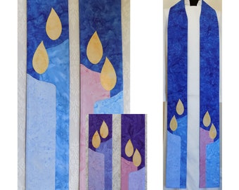 Hope, Love, Joy, Peace: Advent Candles Clergy Stole, Available in Blue or Purple