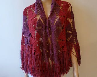 shawl knit 70's purple red one size