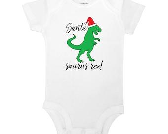 Santa Saurus Rex - Funny Christmas T-Rex, Dinosaur, Baby Boy or Girl One Piece Bodysuit or Toddler / Children's T-shirt