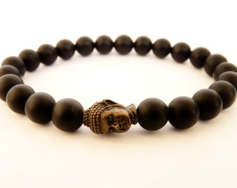 Mens Black Bracelet Matte Black Onyx Jewelry Men's Jewelry for Men Buddha Bracelet Gemstone Bracelet Black Bracelet Tibetan Bracelet for men
