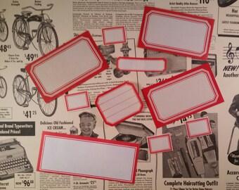 12 Assorted Vintage Dennison Gummed Labels   Red Border Labels
