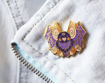 Spoops the Bat Hard Enamel Pin | bat lovers, bat jewellery, spooky jewellery, halloween jewellery