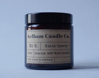 Black Cherry Amber Soy Wax Jar Candle