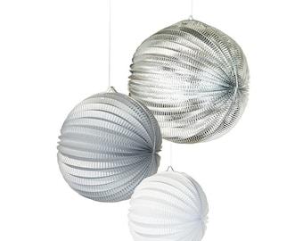 3 paper lanterns : white, grey, silver foil colors - Christmas Decoration