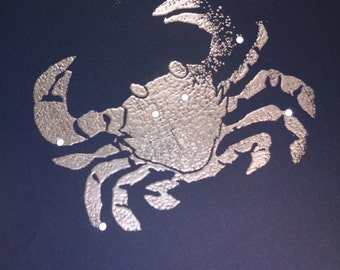 Cancer, the Crab June July Birthday Shadow Zodiac Constellations with Greek Illustrations *Hand Embossed & Hammered Greeting Art Card