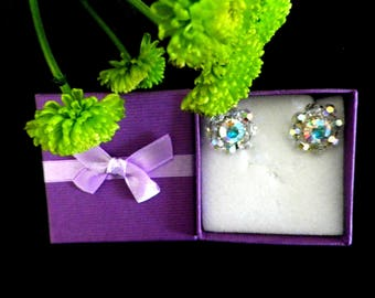 Large aurora borealis crystal clip one earrings signed Exquisite, cluster type rainbow crystal glass flowers, boxed jewellery gift for her
