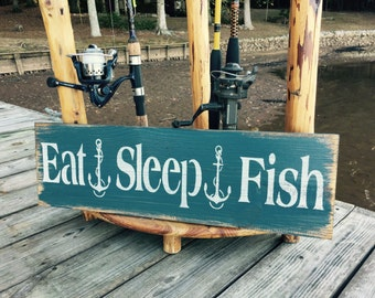 Eat Sleep Fish, Man Cave Decor, Fishing Sign, Cabin Wall Art, Fathers Day Gift, Gift For Him, Fishing Wall Art, Lake Home Decor, Man Gift