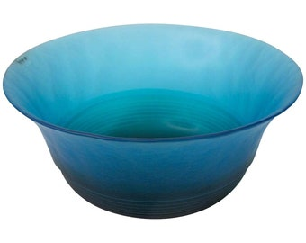 Large Italian MURANO Art Glass Bright Blue Punch Serving Bowl By VeArt