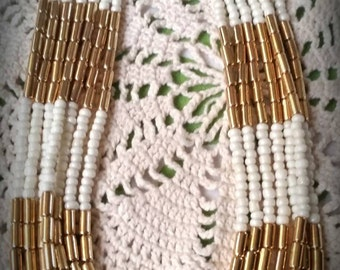 After Life Accessories Handmade: White & Gold Bead layered Necklace