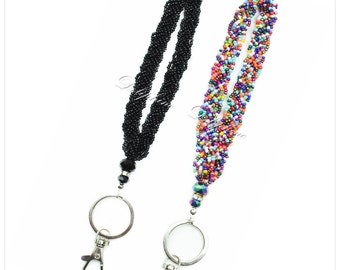 Braided Seed beaded and crystal wristlet key chain