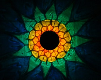 Solar SunFlower Painted Luminary Lantern/ReCLAIMED TeaCup SolarPowered  LED/Outdoor Patio/Table Lamp