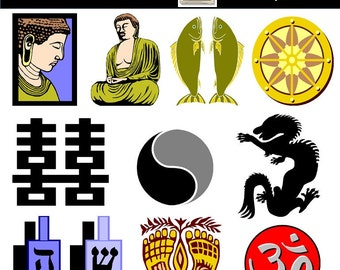 World Religions Clip Art - Religion Clip Art - Buddhism, Confucius, Hinduism, Judaism, Muslim, Tao, Vajra - PNG Images, Instant Download