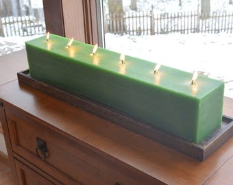 Custom hand poured 24 inch long green candle with 6 individual cotton wicks