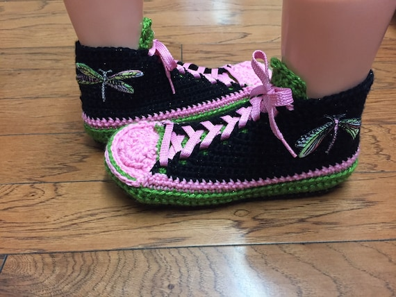 Dragonfly 9 Crocheted Tennis Shoe Dragonfly Pink Crochet Shoes