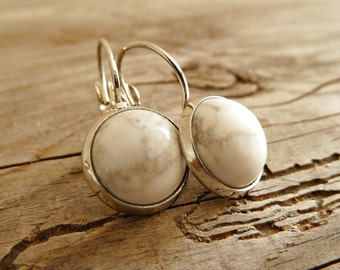 Earrings Marble Howelith Cabochon