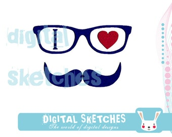 I Love Mustache Machine Embroidery Design 3 Sizes