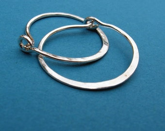 sterling silver hammered hoops 1 inch 1""