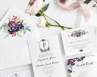 Floral and Greenery Wedding Invitation Suite, Floral Crest Wedding Invitation, Pink and Green Floral Wedding invitation, blush and greenery
