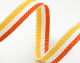 "10 Yards 3/8"" Grosgrain Stripe Ribbon Trim, Yellow and Orange, BS-5053"