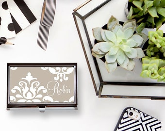 Damask Custom Personalized Business Card Holder Business Card Case